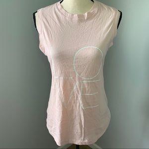 NORMA KAMALI | Pink Sleeveless Love Print Top